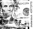 US dollar with news paper text - stock photo