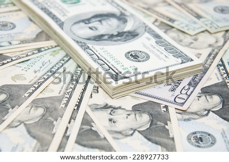 US dollars background - close up of some money - stock photo
