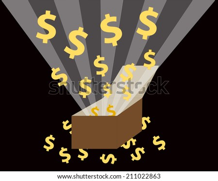 US dollars floated out of the box - stock photo