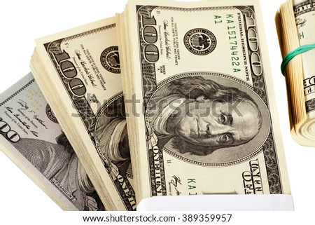 US dollars isolated on white closeup, selective focus - stock photo