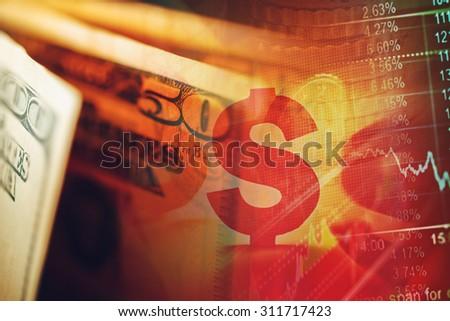 US dollars. Macro image. Finance concept. - stock photo