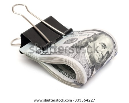 US dollars on a white background - stock photo