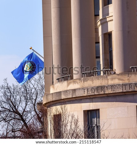 US Federal Trade Commission FTC Flag in Washington DC.  Independent agency in Washington DC.  The FTC handles antitrust and false advertising and other competion issues to protect consumers. - stock photo