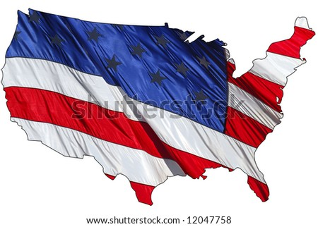 US flag in the shape of America - stock photo