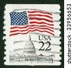 US flag over Capitol on US vintage postmark - stock photo