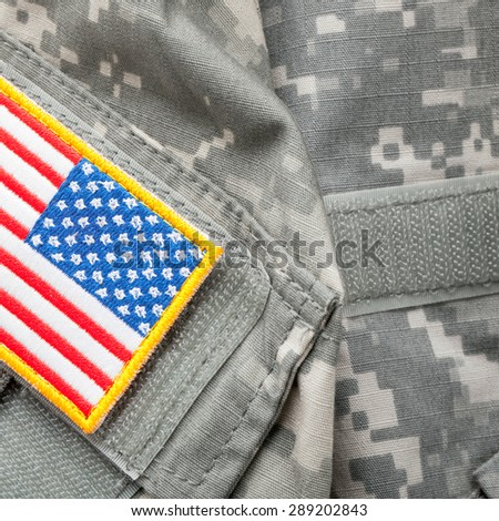US flag shoulder patch on military uniform - stock photo