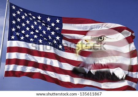 US flag waving in the wind against a blue sky with bald eagle merged on it - stock photo