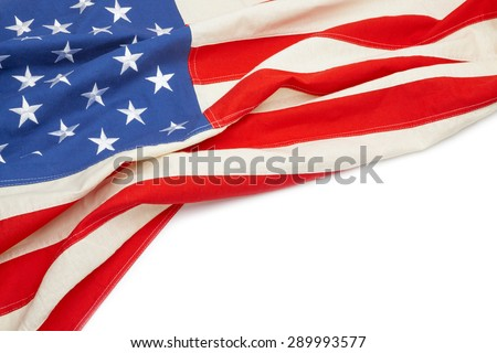 US flag with place for your text - close up - stock photo