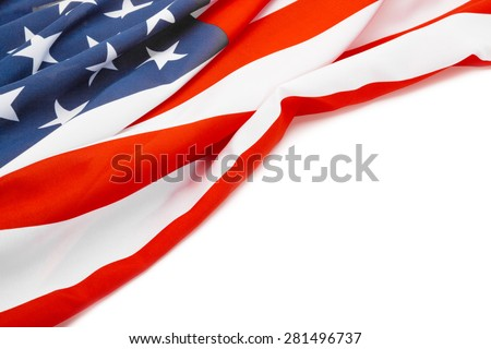 US flag with place for your text - studio shot - stock photo
