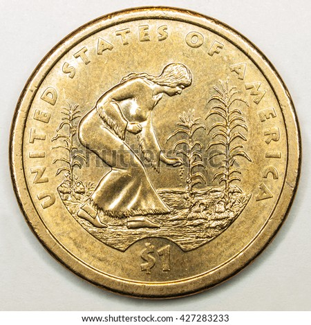 US Gold Dollar Coin Featuring Native American Farming - stock photo