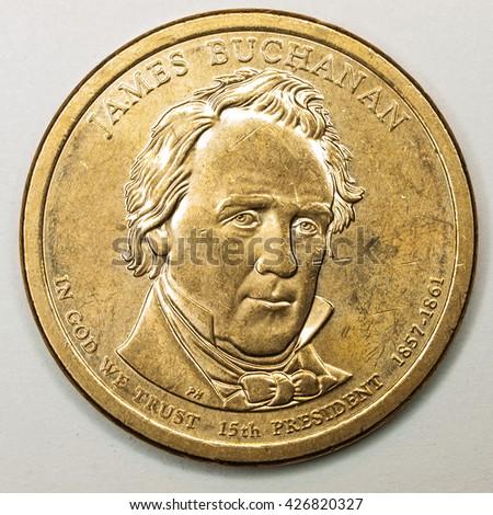 US Gold Presidential Dollar Featuring James Buchanan - stock photo