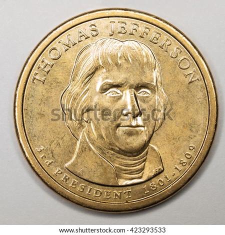 US Gold Presidential Dollar Featuring Thomas Jefferson - stock photo