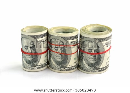 US hundred dollar bills isolated on white background, selective focus.  - stock photo