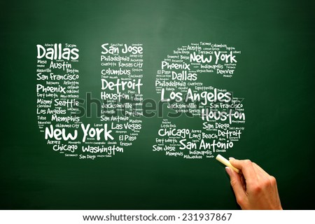 US letters with cities names words cloud on blackboard, presentation background - stock photo