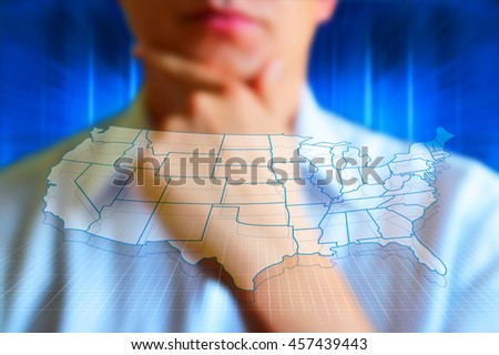 US map with states. Half transparent white map of United States at colourful background. Conceptual image, design US map. - stock photo