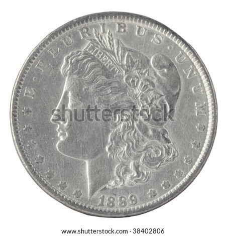 US Morgan Silver Dollar isolated on white - stock photo