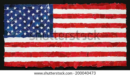 US national flag made from many pieces of torn paper - stock photo