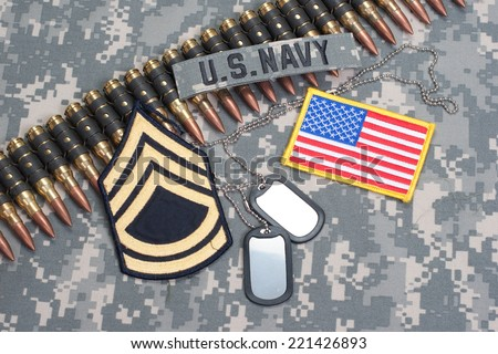 US NAVY concept - camouflage background with US flag - stock photo