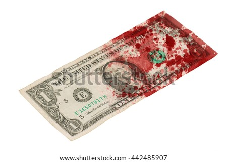 US one Dollar bill, close up photo, blood - stock photo