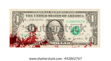 US one Dollar bill, close up photo, blood - stock photo