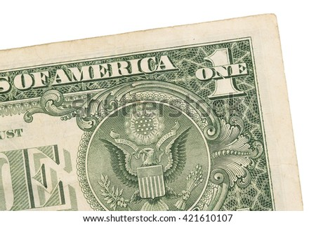 US one Dollar bill, close up photo, seal USA - stock photo