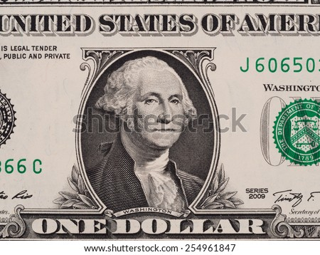 US one dollar bill closeup macro, 1 usd banknote, George Washington portrait, united states money - stock photo