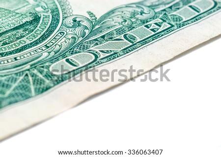US one dollar bill closeup macro, 1 usd banknote, George Washington portrait, united states money - stock photo