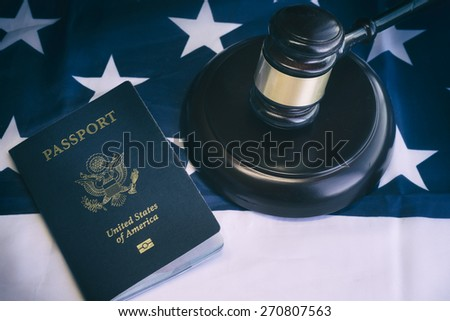 Us passport, law, legal,citizenship,immigration concept image - stock photo