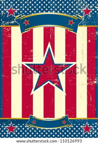 US poster with red star. A patriotic background for you - stock photo