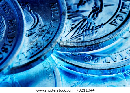 US Presidential Coins Macro Inverse Colors - stock photo