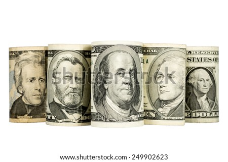 US presidents depicted on banknotes,  isolated on white background - stock photo