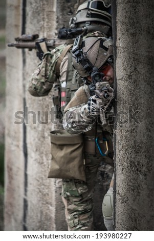 us rangers during assault in urban area - stock photo