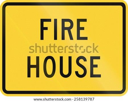 US road warning sign: Fire house - stock photo
