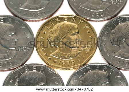 US Silver dollars - stock photo