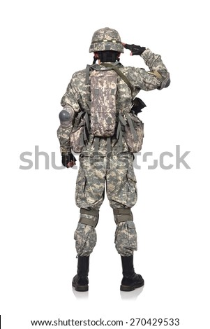 US soldier salutes standing back on white background - stock photo