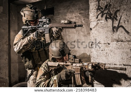 US soldiers in urban area - stock photo