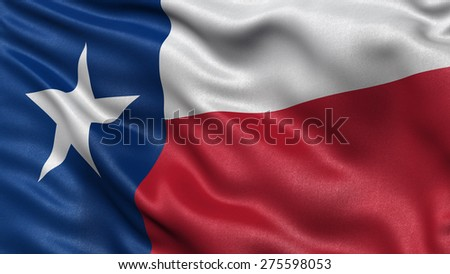 US state flag of Texas with great detail waving in the wind. - stock photo