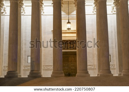 US Supreme Court Columns Door Washington DC - stock photo