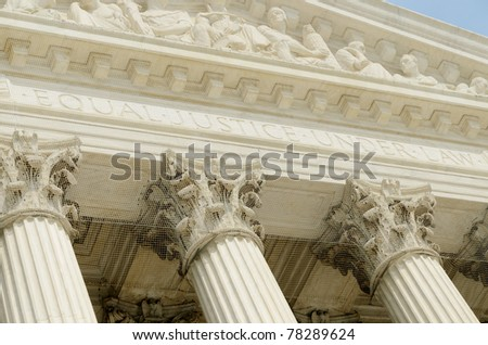 US supreme court portico detail - stock photo