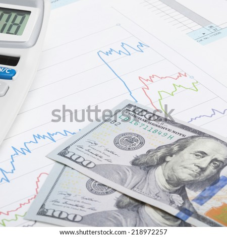US Tax Form 1040 with calculator and 100 US dollars - 1 to 1 ratio - stock photo