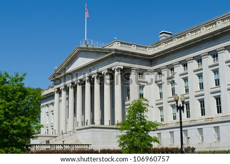 US Treasury Department building in Washington, DC - stock photo