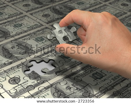 US$100,00. Wealth idea in a metaphor in the last piece of the puzzle to reach the wealth. That is the main piece of the puzzle to do the wealth. - stock photo