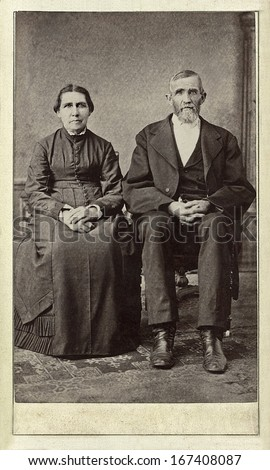 US - WISCONSIN - CIRCA 1860 - A vintage Cartes de visite photo of an elderly couple. The man and wife are sitting next to each other. A photo from the Civil War era. CIRCA 1860 - stock photo