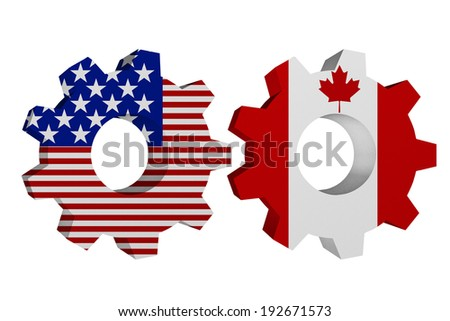 US working with Canada, Two cogwheel gear mechanism pieces with the US flag and Canadian flag isolated over white - stock photo
