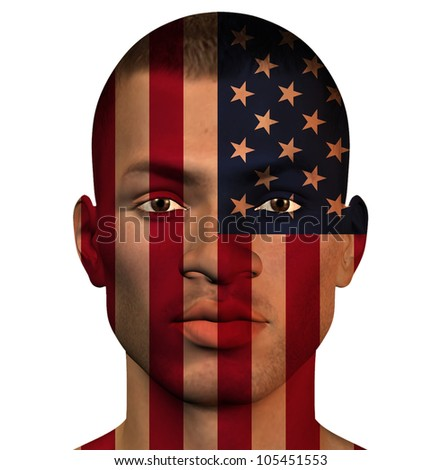 USA African MAN Isolated on White - stock photo