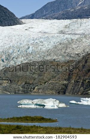 USA Alaska, Tongass National Forest, Mendenhall Glacier Recreation Area, Travel destination / USA Alaska - Mendenhall Glacier and Lake - stock photo