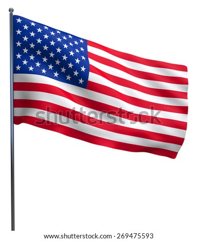 USA American flag waving. Isolated on white background. - stock photo
