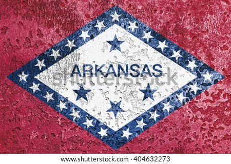 USA and Arkansas State Flag painted on grunge metal - stock photo