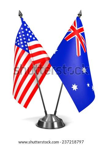 USA and Australia - Miniature Flags Isolated on White Background. - stock photo