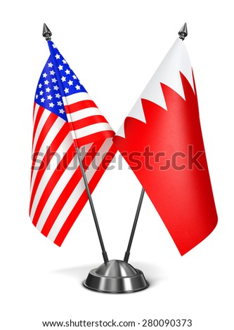 USA and Bahrain - Miniature Flags Isolated on White Background. - stock photo